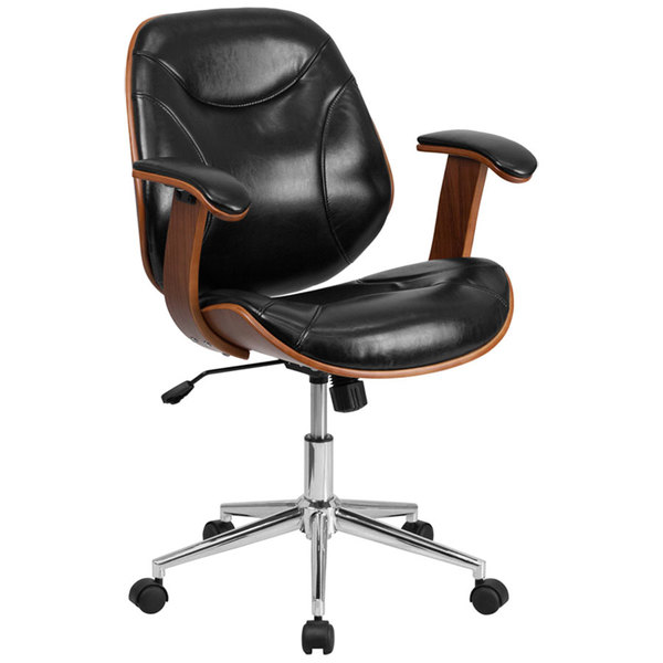 Flash Furniture SD-SDM-2235-5-BK-GG Mid-Back Black Leather Executive Wood Office Swivel Chair Main Image 1