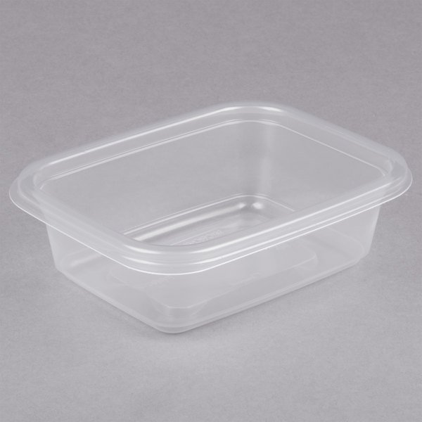 Genpak FPR012-CL Smart-Set Pro 12 oz. Clear 4 5/8 inch x 5 7/8 inch x 1 3/4 inch Rectangular Microwaveable Container - 300/Case