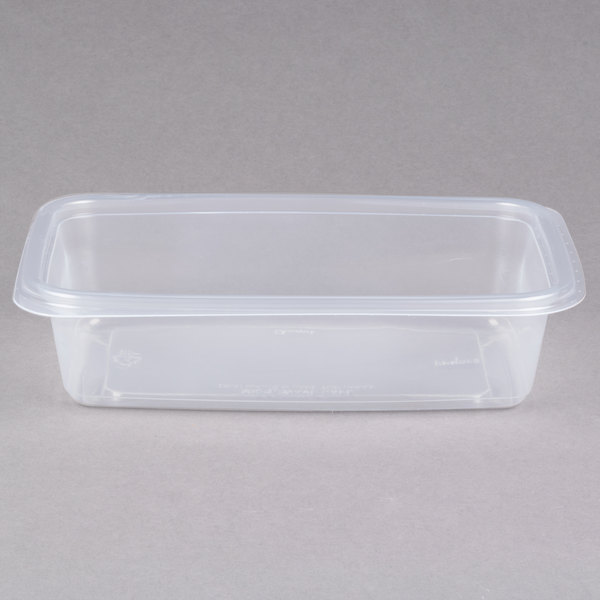 Genpak FPR032-CL Smart-Set Pro 32 oz. Clear 6 inch x 8 3/4 inch x 2 inch Rectangular Microwaveable Container - 300/Case