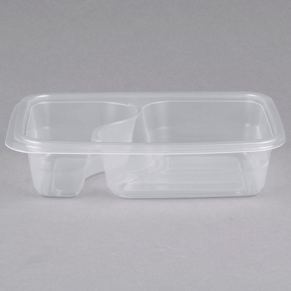 Genpak FPR232-CL Smart-Set Pro 6 1/8 inch x 8 3/4 inch x 2 inch Clear Rectangular 2-Compartment Microwaveable Container  - 300/Case