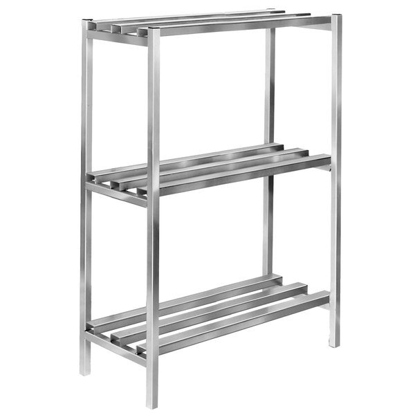 "Channel DR2472-3 72"" x 24"" x 64"" Three Shelf Aluminum Dunnage Shelving Unit - 2500 lb. Capacity"