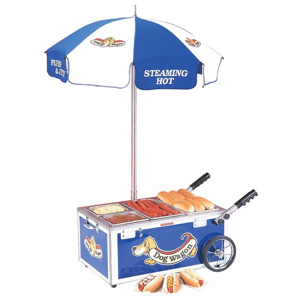 Nemco 6550-DW Blue Mini Hot Dog Cart with (2) 1/4 Pan and (1) 1/2 Pan Configuration - 120V, 1220W