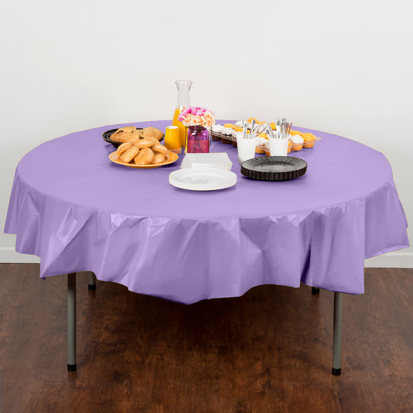 "Creative Converting 703265 82"" Luscious Lavender Purple OctyRound Disposable Plastic Table Cover"