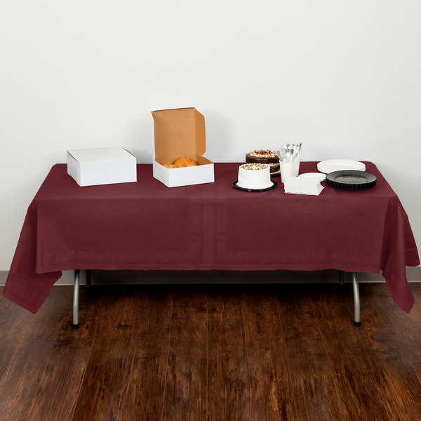 "Creative Converting 713122 54"" x 108"" Burgundy Tissue / Poly Table Cover"