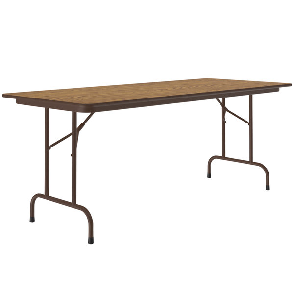 "Correll Folding Table, 30"" x 96"" Melamine Top, Medium Oak - CF3096M06 Main Image 1"