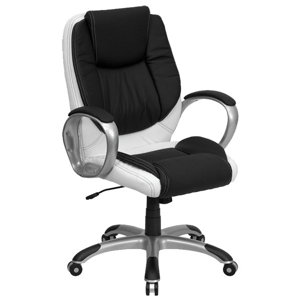 Flash Furniture CH-CX0217M-GG Mid-Back Black and White Leather Executive Office Chair Main Image 1