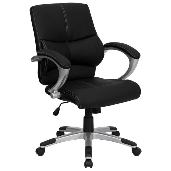 Flash Furniture H-9637L-2-MID-GG Mid-Back Black Leather Contemporary Manager's Office Chair with Padded Arms