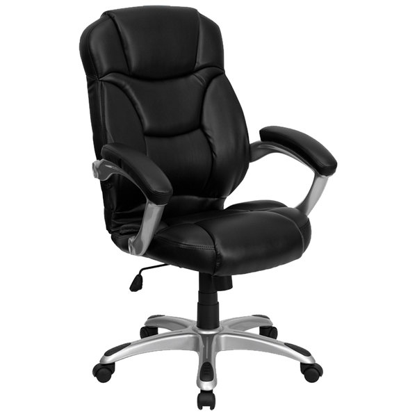 Flash Furniture GO-725-BK-LEA-GG High-Back Black Leather Contemporary Office Chair with Silver-Colored Base Main Image 1
