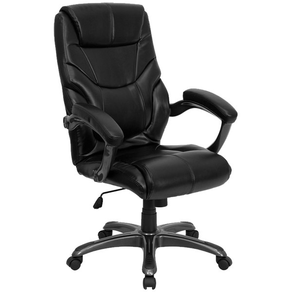 Flash Furniture GO-724H-BK-LEA-GG High-Back Black Leather Overstuffed Executive Office Chair