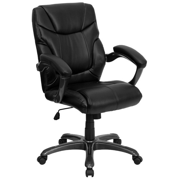 Flash Furniture GO-724M-MID-BK-LEA-GG Mid-Back Black Leather Overstuffed Office Chair Main Image 1