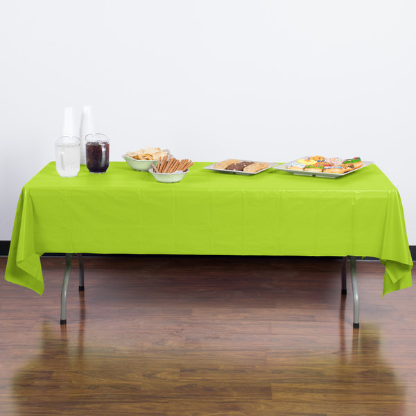 "Creative Converting 723123B 54"" x 108"" Fresh Lime Green Disposable Plastic Table Cover"