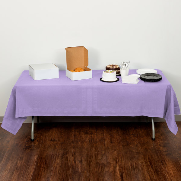 """Creative Converting 710212 54"""" x 108"""" Luscious Lavender Purple Tissue / Poly Table Cover"""