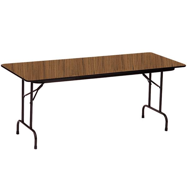 "Correll Folding Table, 30"" x 72"" Melamine Top, Medium Oak - CF3072M06"
