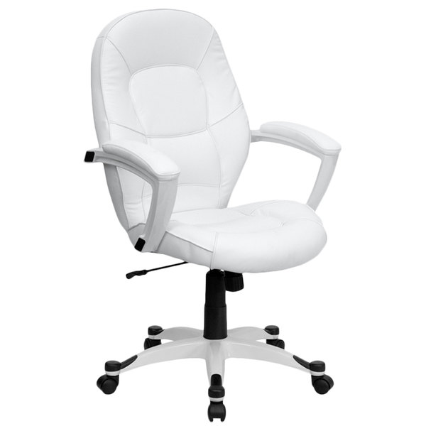 Flash Furniture QD-5058M-WHITE-GG Mid-Back White Leather Executive Office Chair with Padded Arms and Nylon Base