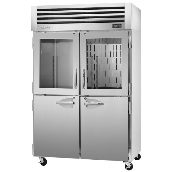 """Turbo Air PRO-50R-GSH-N 52"""" Premiere Pro Series Two Section Reach-In Refrigerator with Solid and Glass Half Doors"""