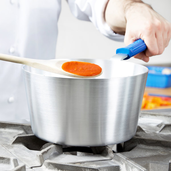Vollrath 434312 Wear-Ever 3.75 Qt. Tapered Sauce Pan with Natural Finish and Cool Handle Main Image 2