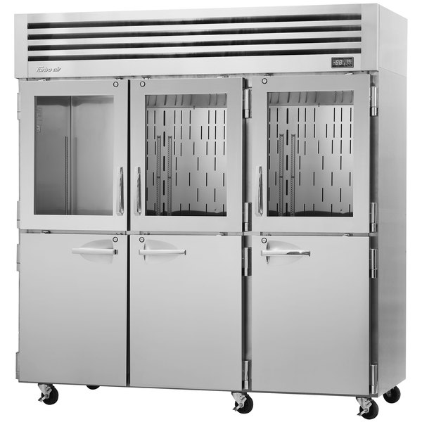 """Turbo Air PRO-77R-GSH-N 78"""" Premiere Pro Series Three Section Reach-In Refrigerator with Solid and Glass Half Doors"""