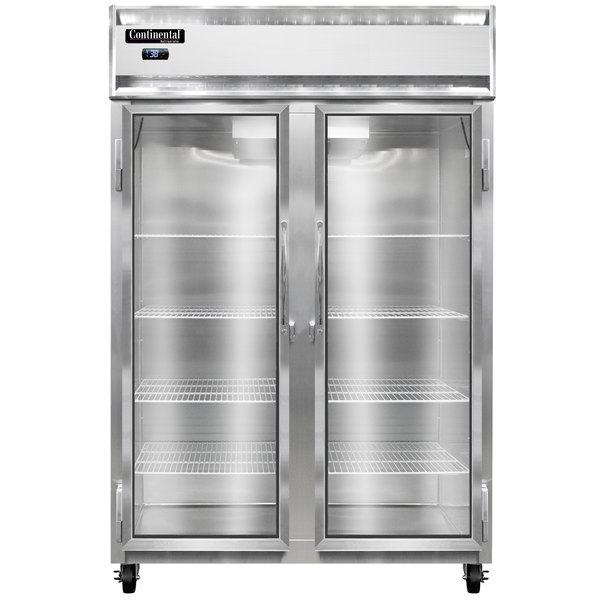 """Continental Refrigerator 2R-GD 52"""" Two Section Glass Door Reach-In Refrigerator - 48 Cu. Ft."""