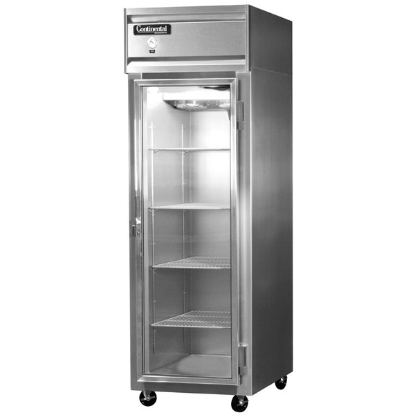 "Continental Refrigerator 1R-GD 26"" One Section Glass Door Reach-In Refrigerator - 21 Cu. Ft."
