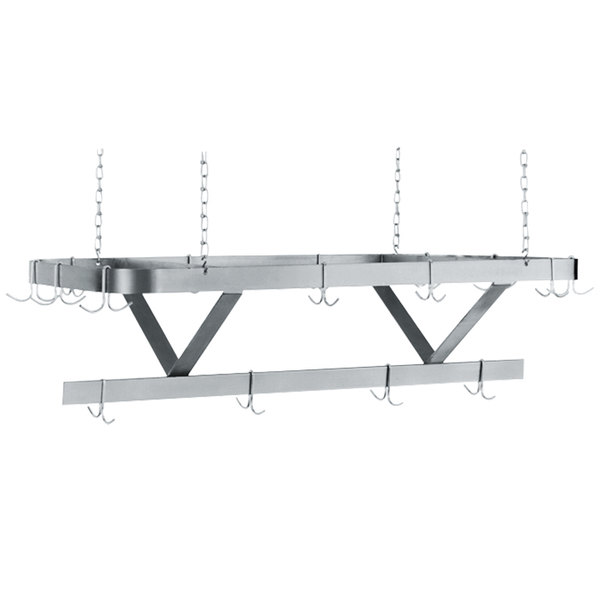 """Advance Tabco GC-96 Powder Coated Ceiling Mounted Pot Rack with 18 Hooks - 96"""" Main Image 1"""