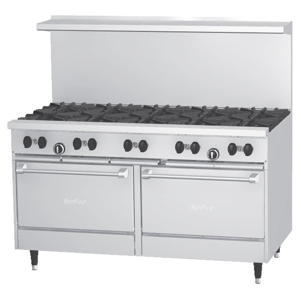 Garland SunFire Series X60-10RR Liquid Propane 10 Burner 60 inch Gas Range with Two Standard Ovens - 366,000 BTU