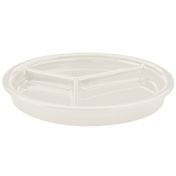 """Hall China 19010AWHA 9 1/16""""Ivory (American White) 3 Compartment Divided China Plate - 12/Pack"""