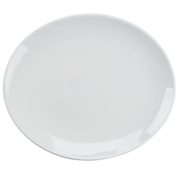 Tuxton VPH-130 Florence 13 1/4 inch x 11 1/4 inch Bright White Coupe Oval China Platter - 12/Case