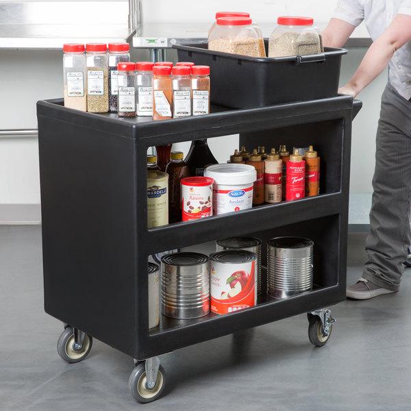 "Cambro BC235110 Black Three Shelf Service Cart - 37 1/4"" x 21 1/2"" x 34 5/4"" Main Image 3"