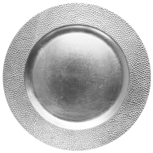"""The Jay Companies 1182761 13"""" Round Silver Pebbled Plastic Charger Plate"""