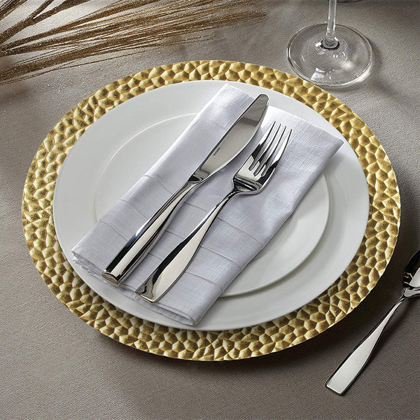 "The Jay Companies 1182763 13"" Round Gold Hammered Plastic Charger Plate"