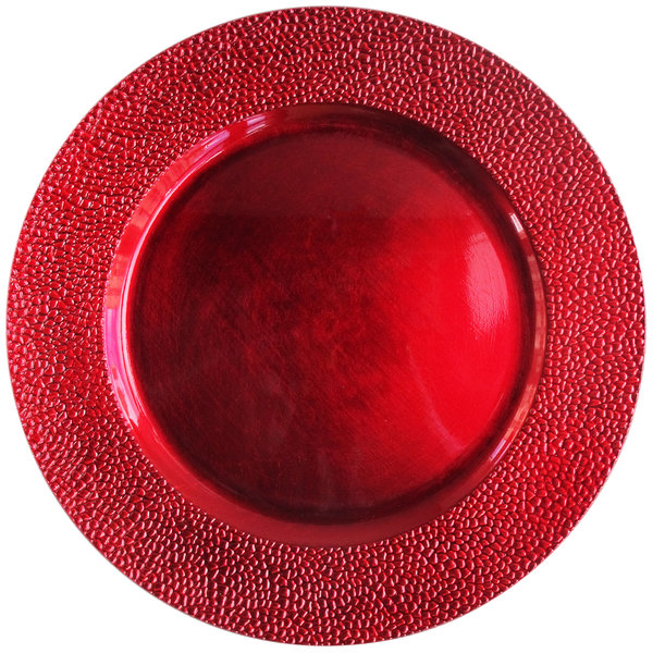 """The Jay Companies 1182762 13"""" Round Red Pebbled Polypropylene Charger Plate"""