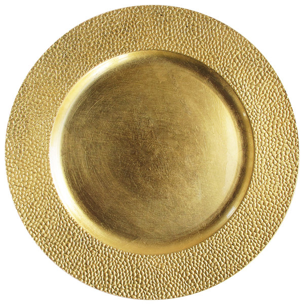 "The Jay Companies 13"" Round Gold Pebbled Polypropylene Charger Plate"