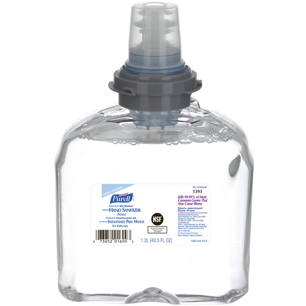 Purell® 5393-02 TFX Advanced E3 Rated 1200 mL Foaming Instant Hand Sanitizer - 2/Case