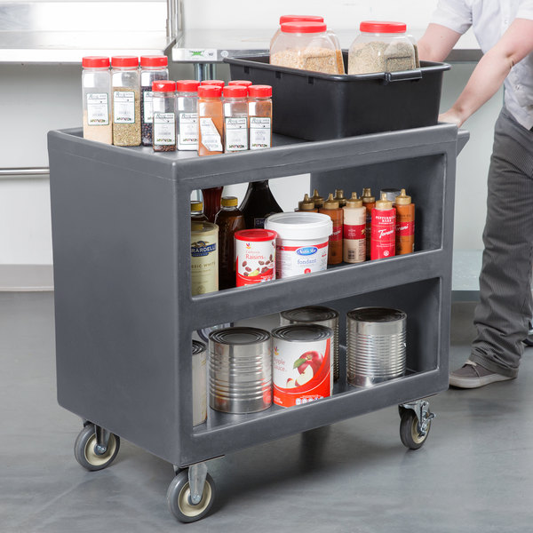 "Cambro BC235 Granite Gray Three Shelf Service Cart - 37 1/4"" x 21 1/2"" x 34 5/4"""