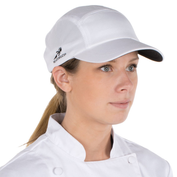 Headsweats White Customizable 5-Panel Chef Cap with Eventure Fabric and Terry Sweatband Main Image 1