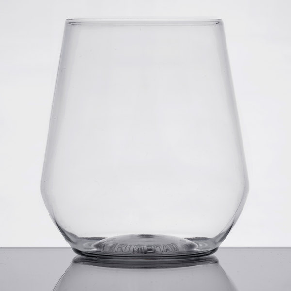 Elegant Offer Guests Your Wines In Style With This WNA Comet RESSGL12 Reserv 12 Oz.  Clear Plastic Disposable Stemless Wine Goblet.