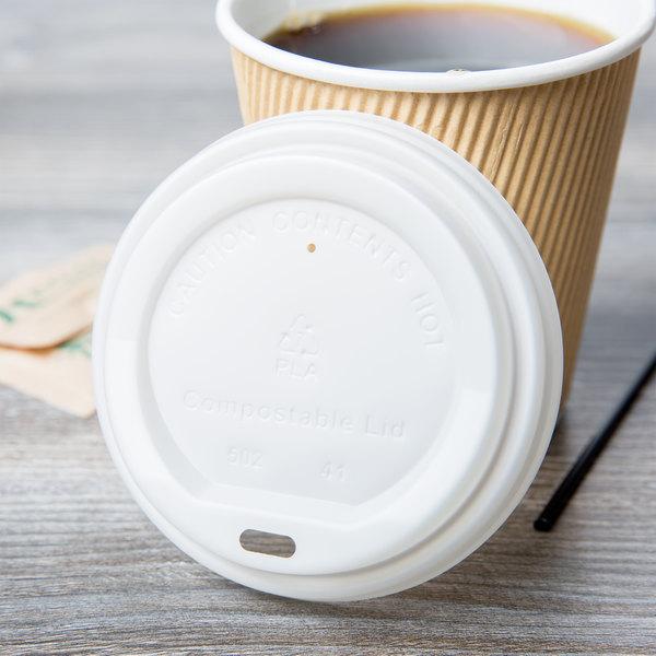 EcoChoice 8 oz. Squat to 20 oz. Translucent Compostable Paper Hot Cup Lid - 50/Pack