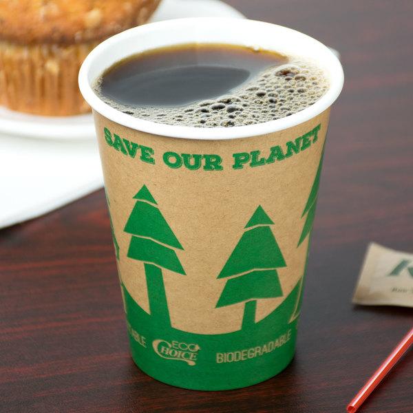 EcoChoice 12 oz. Kraft Compostable Paper Hot Cup - 1000/Case Main Image 3