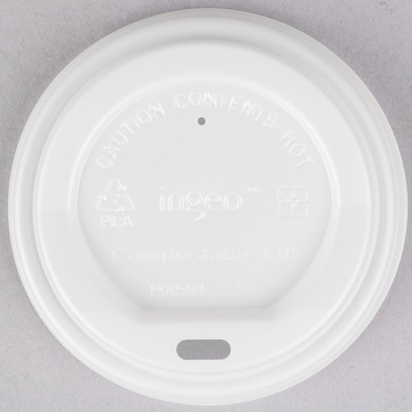 EcoChoice 8 oz. White Compostable Paper Hot Cup Lid - 1000/Case