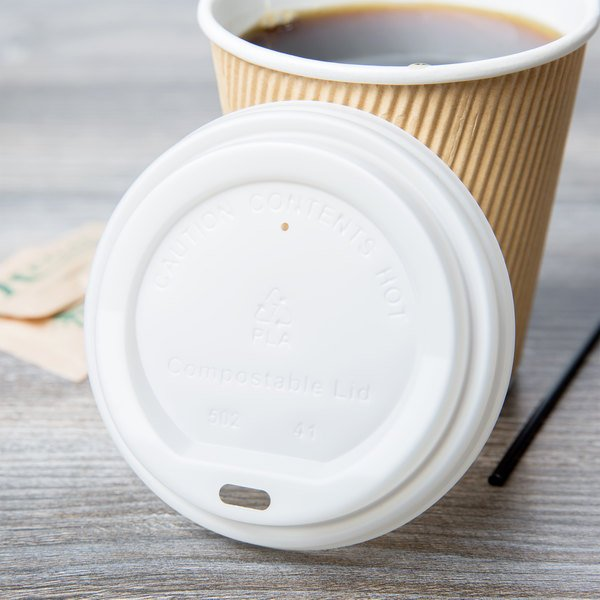 EcoChoice 8 oz. Squat to 20 oz. Translucent Compostable Paper Hot Cup Lid - 1000/Case Main Image 3