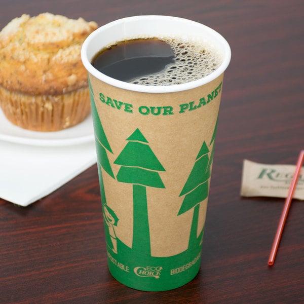 EcoChoice 20 oz. Kraft Compostable Paper Hot Cup - 600/Case Main Image 3
