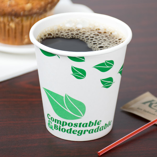 EcoChoice 10 oz. Leaf Print Compostable and Biodegradable Paper Hot Cup - 1000/Case