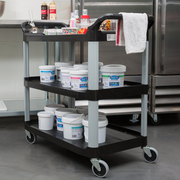 "Rubbermaid FG409100BLA Xtra Black 300 lb. Three Shelf Utility Cart / Bus Cart 40"" x 20"" x 37"""
