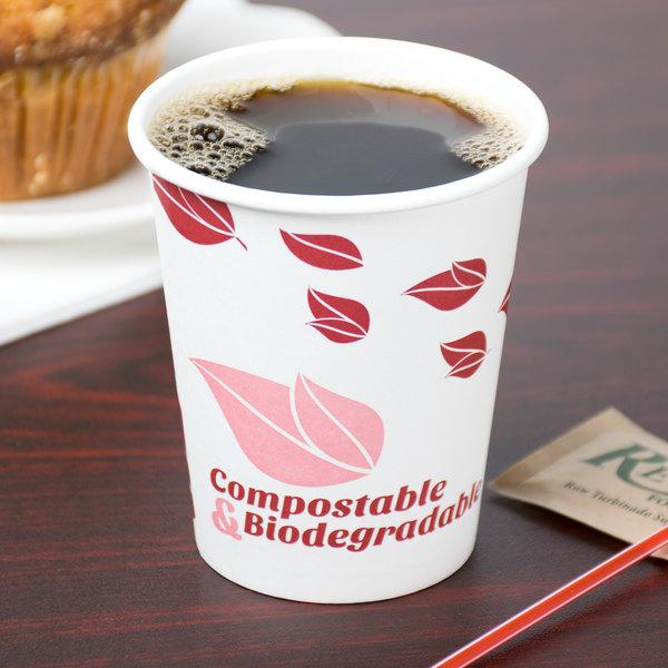EcoChoice 8 oz. Leaf Print Compostable Paper Hot Cup - 1000/Case Main Image 2
