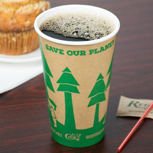 EcoChoice 16 oz. Kraft Compostable Paper Hot Cup - 1000/Case Main Image 3