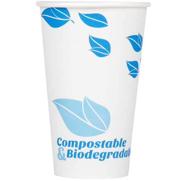 EcoChoice 16 oz. White Compostable and Biodegradable Paper Hot Cup with Leaf Design - 1000/Case