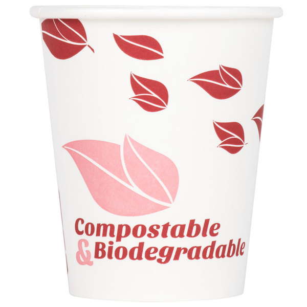 EcoChoice 8 oz. Leaf Print Compostable and Biodegradable Paper Hot Cup - 50/Pack