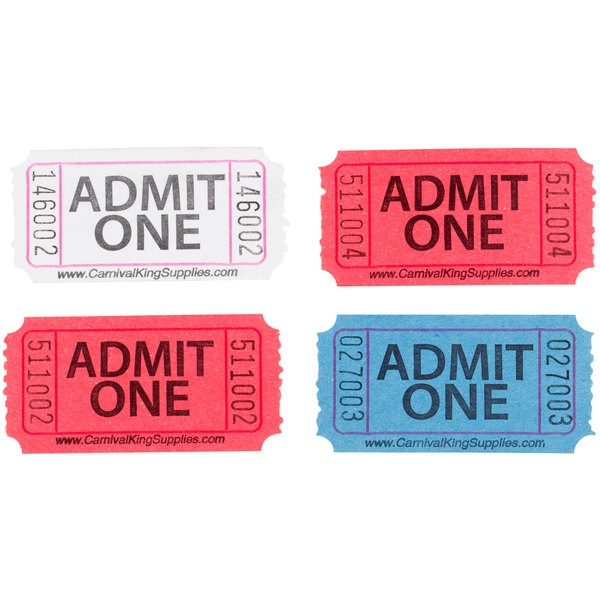 carnival king assorted 1 part admit one tickets set red white blue