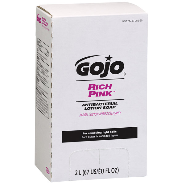 GOJO® 7220-04 TDX 2000 mL Rich Pink Antibacterial Lotion Soap - 4/Case