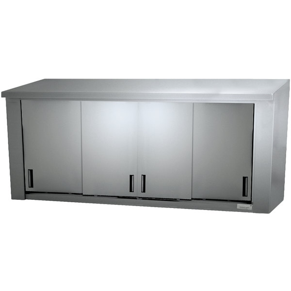 "Advance Tabco WCS-15-96 96"" Stainless Steel Wall Cabinet with Sliding Doors"